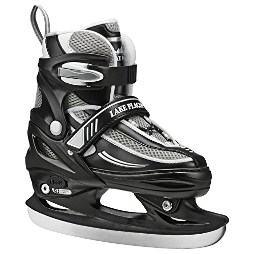 Lake Placid Summit Boys Adjustable Ice Skate, Black/White, Medium/1-4 (Best Ice Skates For Kids)
