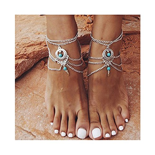 Hanloud Vintage Multi Chain Tassel Anklet Hollow Out Metal Turqoise Beads Dangle Chain Anklet Beach Barefoot Sandals Foot Jewelry 2 Pcs Pack, Silver