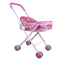 vinmax Doll Stroller, Doll Pram Folding Kids Stroller Simulation Play Shopping Cart Girl Children Pretend Play Furniture Toys Baby Pram Pushchair