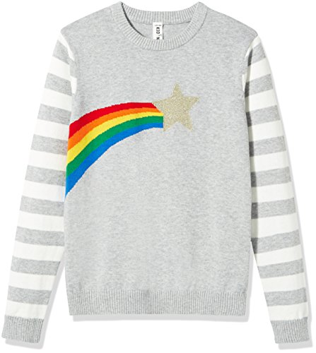 Kid Nation Girls' Long Sleeve Pullover with Star & Rainbow Decoration Girl Sweater M Grey