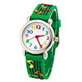 Fashionable-Shop School Toddlers Kids Time Teach 3D Cartoon Boys Girls Watch Japan Quartz Durable Silicone Christmas Birthday Gift 3-10 Years Old Water Resistant UN1739 (Green Piano)