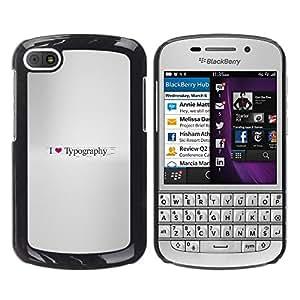 KLONGSHOP // Cubierta de piel con cierre a presión Shell trasero duro de goma Protección Caso - Amo Tipografía - BlackBerry Q10 //