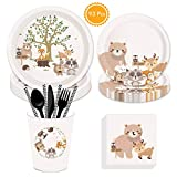 93 Pack Woodland Animals Disposable Tableware, DreamJ Woodland Animals Supplies with Plates, Cups, Napkins, Straws, for Woodland Baby Shower Birthday Party Decorations
