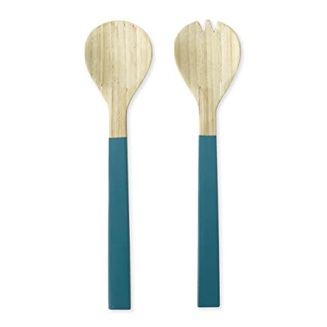 Cubiertos para ensalada (bambú azul 30 cm – Baya – Bruno Evrard