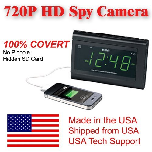 [100% COVERT] SecureGuard HD 720p USB Charger & Clock Radio Spy Camera Covert Hidden Nanny Camera Spy Gadget by AES Spy Cameras