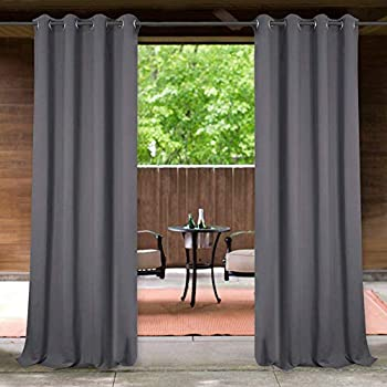 StangH Indoor Outdoor Curtains for Patio Waterproof Blackout Grommet Curtain Panels for Pergola/Front Porch/Deck/Cabana/Gazebo, Grey, Width 52 x Length 95 inches, 1 Panel