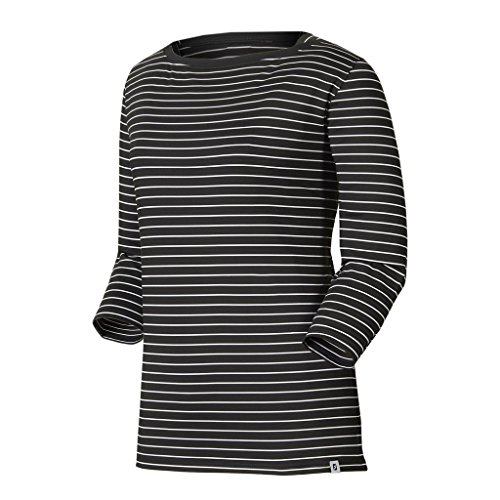 FootJoy Women's Stretch Lisle Stripe Boatneck Shirt (Medium, Black/White)
