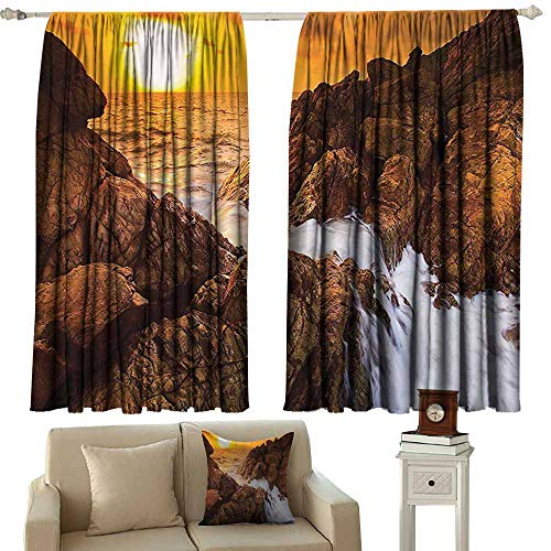 Anyangeight Curtain Set Seaside Decor Collection,Sunset View Sea Line Waves Rock on The Beach Cloudy Sky Landscape Picture,Yellow Orange Gold Saddle Brown 54