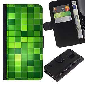 SAMSUNG Galaxy S5 V / i9600 / SM-G900 , la tarjeta de Crédito Slots PU Funda de cuero Monedero caso cubierta de piel ( Pattern Checkered Green Bright Bling)