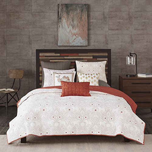 3 Piece Indian Elephant White Coral Red Coverlet King Set, Cal King Embroidered Floral Themed Bedding Flower Pattern Reversible Summer Animal Designs Stylish Rich Colors Cottage, Cotton by D&H