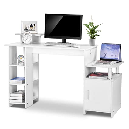 Wondrous Exblue Computer Desk Student Pc Workstation Laptop Table And Storage Unit Combo Ideal Desktop For Any Size Computers And Laptops White Download Free Architecture Designs Scobabritishbridgeorg