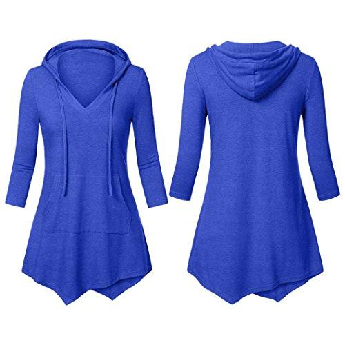 Pullover Dimensioni a da Tunica Felpa Tinta Top di Top Sonnena Donna Maniche Blu Maglietta a a Taschino Cappuccio Scollo Donna con Camicetta Lunghe Unita da Grandi V con Ampia aqORtCw