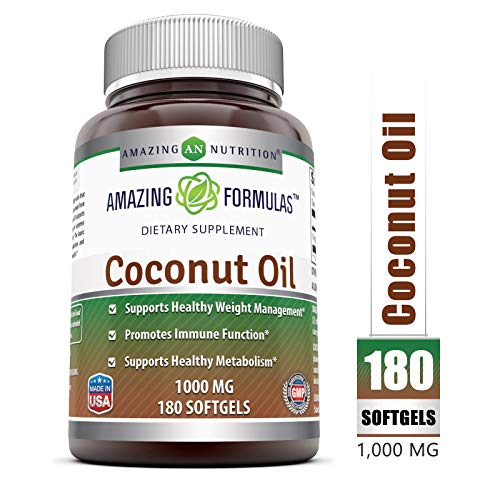 Amazing Nutrition Amazing Formulas Extra Virgin Coconut Oil Dietary Supplement - 1000mg - 180 Softgels - Weight Management & Immune System Support - Promotes Heart Health ()