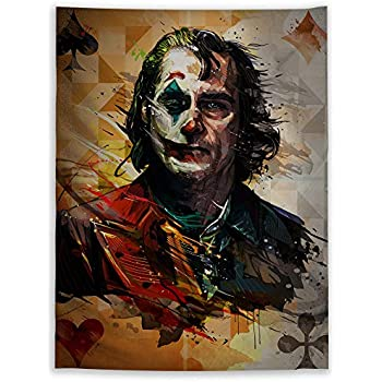 JackGo7 Joker Painting Tapestry Art Wall Hanging Sofa Table Bed Cover Mural Beach Blanket Home Dorm Room Decor Gift (80X60inch/200x150cm)