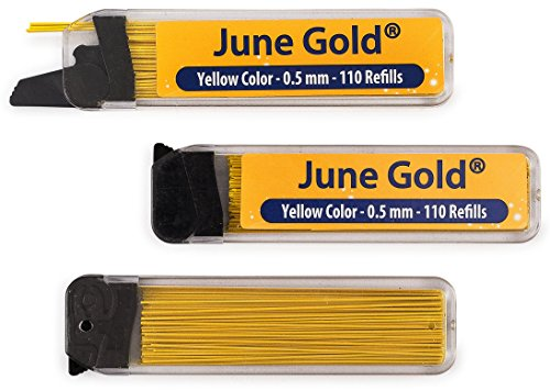 Yellow Colored Pen (June Gold 330 Yellow Colored Lead Refills, 0.5 mm, Fine Thickness for Delicate/Gentle Use with Convenient Dispensers)