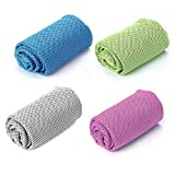Caihong Cooling Towels 4 Pack for Sports, Microfiber Multi-Purpose Ice Towels for Workout, Fitness, Gym, Yoga, Running, Camping, Hiking, Pilates, Travel & More Activities