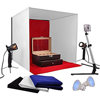 AW Photo Studio 24 Photography Light Tent 60cm Cube Lighting In A Box Kit W Backdrop Stand