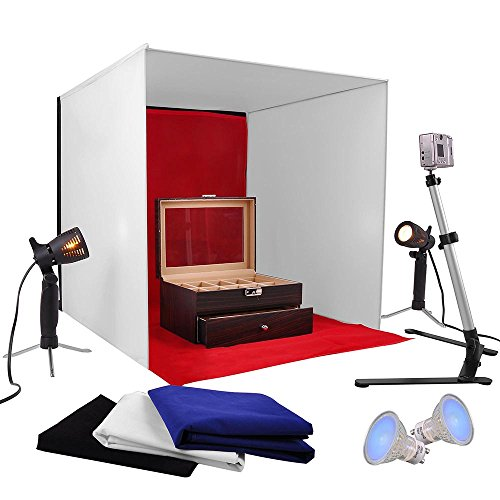 "AW Photo Studio 24"" Photography Light Tent 60cm Cube Lighting In A Box Kit w/Backdrop Stand"
