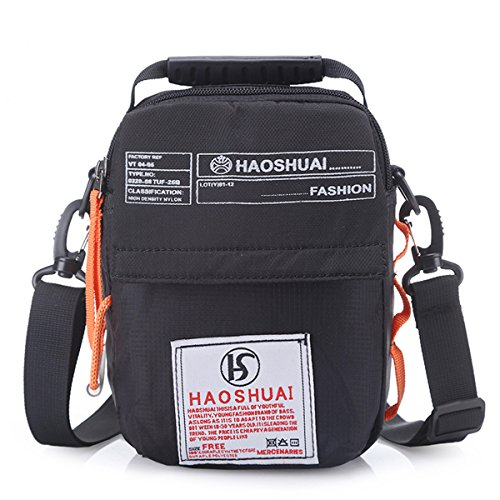 JAKAGO Waterproof Shoulder Bag Universal Small Messenger Bag Handbag Mobile Phone Pouch Cross Body Bag Purse with Shoulder Strap for Outdoor Sport Travel Hiking Camping (Black) Black Mini Messenger Bag