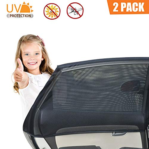 Car Side Window Sun Shade, Breathable Mesh Sun Shield Protect Your Babies and Kids, Fits Most Small and Medium Cars (Black-2) -