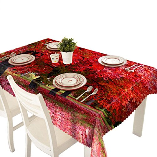 Ikevan Hot Selling 3D Dining Multi Functional Table Cloth Picnic Tablecloth Table Cover Soft Placemat Mat Home Decor 90x150cm (Red Maple)