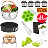 Kyonano 13 Pcs Accessories Compatible with Instant Pot 5,6,8QT, Include Steamer Basket, Springform Pan, 2 Egg Steamer Racks, 4 Cheat Sheet Magnets, Egg Bites Mold, Tong, Plate Gripper, Silicone Gloves