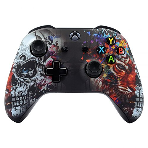 eXtremeRate Tiger Skull Faceplate Cover, Soft Touch Front Housing Shell Case, Comfortable Soft Grip Replacement Kit for Xbox One S & Xbox One X ()