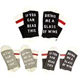 IF YOU CAN READ THIS Fun Wine Socks, HSELL Women Cotton Crew Party Socks 3 Pack,Multicoloured,5-11
