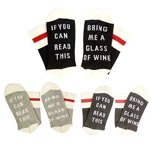 IF YOU CAN READ THIS Fun Wine Socks, HSELL Women Cotton Crew Party Socks 3 Pack,Multicoloured,5-11 (Bring Me A Glass Of Wine Socks)