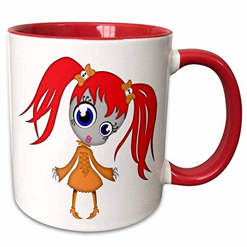 (3dRose Blonde Designs Happy and Haunted Halloween - Halloween Creepy Redhead Girl in Orange Dress - 15oz Two-Tone Red Mug)