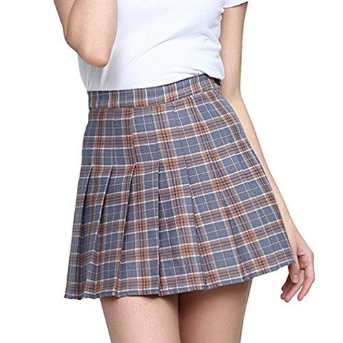 Heheja Fille / Femme Taille Haute Mini Kilt/Jupe Patineuse Ecossais vas Tartan Pliss Plaid Court Jupes Gray