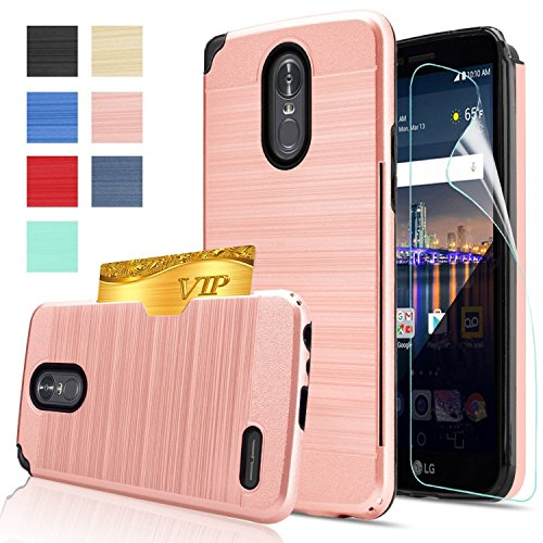 Price comparison product image LG Stylo 3 Case,LG Stylo 3 Plus Case,LG Stylus 3 case with HD Screen Protector,AnoKe[Card Slots Holder][Not Wallet] Plastic TPU Hybrid Shockproof for LG LS777 KC2 Rose Gold