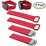 Moto 360 & Pebble Time Wristband By Allrun, 2PCS Silicone Replacement Wristbands with 2PCS Connect Pins For Moto 360 Smartwatch / Pebble Time Smartwatch (2pcs Rose)