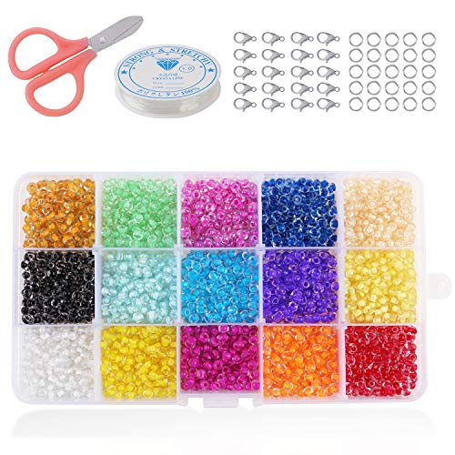 Phogary 3500pcs Glass Seed Beads, Mixed Colors Small Pony Beads Assorted Kit Multi Colors Lustered Loose Spacer Beads, 4mm Round, Hole 1.3mm for Jewelry Making, DIY Crafting (15 Colors)