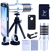Apexel iPhone 4/4S Camera Phone Lens Kit Including 14x Manual Focus Telephoto Lens/ Fisheye Lens/ Wide Angle Lens/Macro Lens with Mini Tripod /Universal Phone Holder / Hard Back Case for iPhone 4/4S