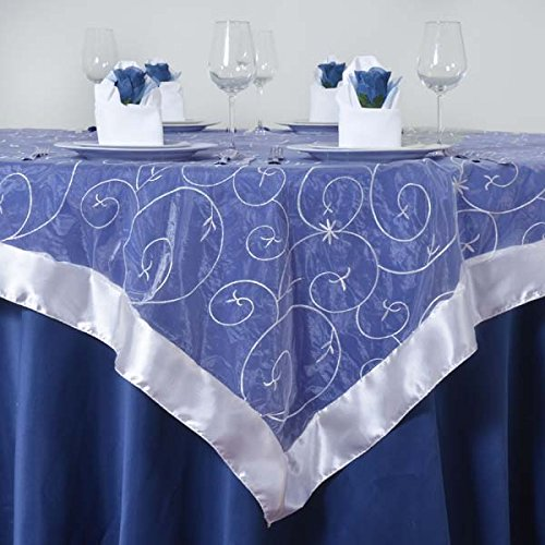 """Efavormart White Organza Embroidered Square Tablecloth Overlay 72""""x72"""" Square Tablecloth Cover for Wedding Party Event Banquet"""