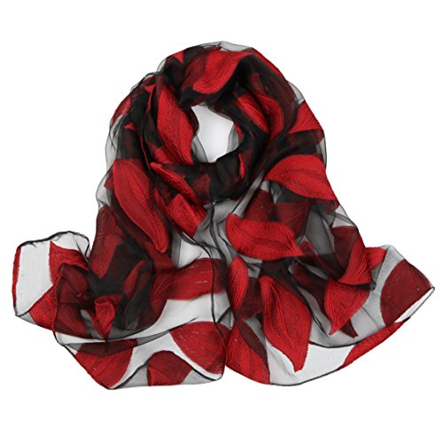 (ChikaMika Silk Red Scarf Fashion 100% Silky Scarves Top Quality Leaves Pattern Scarves (rose red))