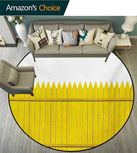 Yellow Modern Machine Washable Round Bath Mat,Colorful Wooden Picket Fence Design Suburban Community Rural Parts of Country Non-Slip Living Room Soft Floor Mat,Round-47 Inch]()