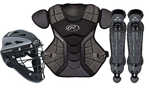 Rawlings Sporting Goods VCSI-B/GPH Adult Catcher Set Velo Series Protective Gear, Black/Graphite, Age 12-15