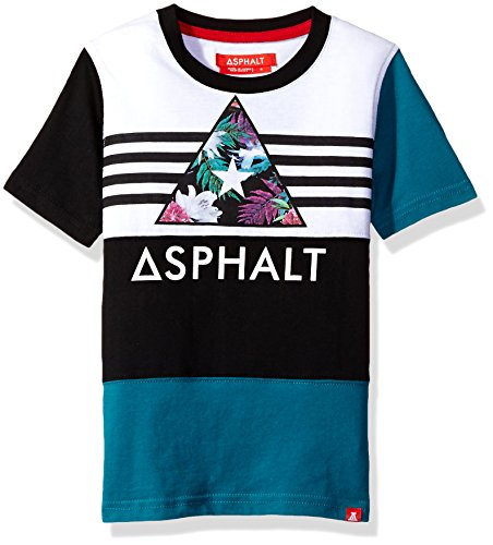 Asphalt Yacht Club Big Boys' Crew Tee Shirt, Black/White/Blue, M10/12