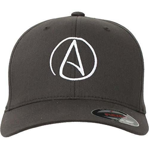 Atheist Centered Symbol Curved Bill Baseball Hat Flexfit-Grey LG/XL