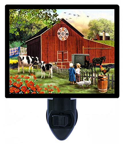 Night Light, Country Serenity, Amish Children, Cows, Barn, Horse Buggy