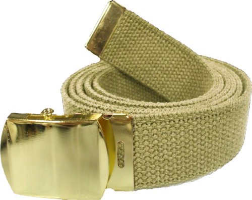 100% Cotton Military 54'' Web Belt (Khaki Belt w/Gold Buckle)