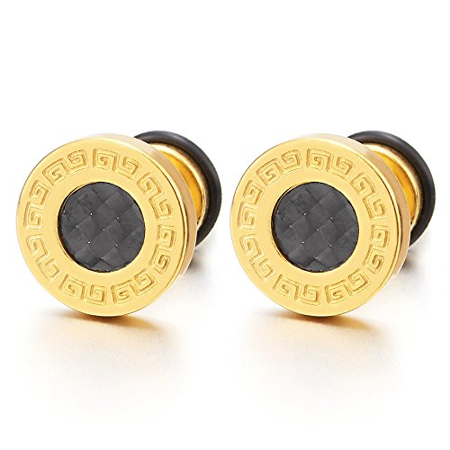 10MM Mens Gold Steel Stud Earrings with Carbon Fiber and Greek Key, Cheater Fake Ear Plugs Gauges, 2 Mens Greek Key