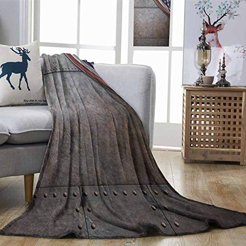 Zmstroy Travel Throwing Blanket American USA Flag Over Rusty Textured Armor Plaque Military National Defense Designed Print Brown Plush Throw Blanket W40 xL60 ()