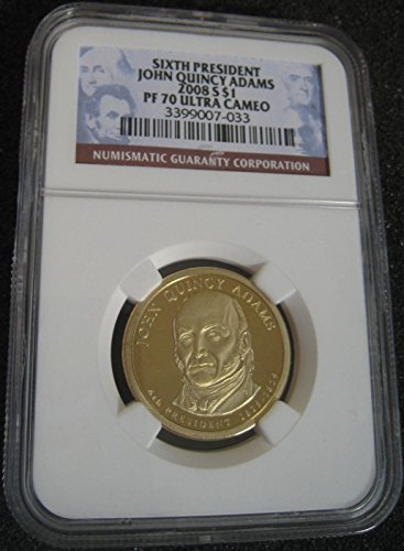 John Quincy Adams Dollar Coin (2008 S US Presidential Dollar - John Quincy Adams, Certified PF70 Ultra Cameo and Slabbed)