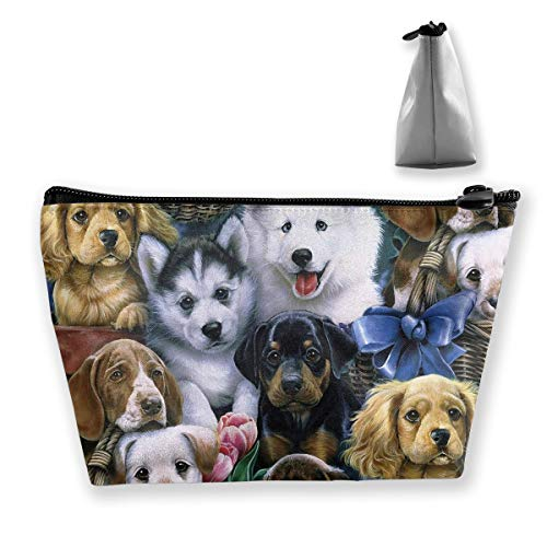 Updated 2019 Travel Makeup Bag, Professional Portable Storage Bag for Cosmetic Makeup Brushes, Adorable Dogs Family Pattern (Best Girlfriend Getaways 2019)