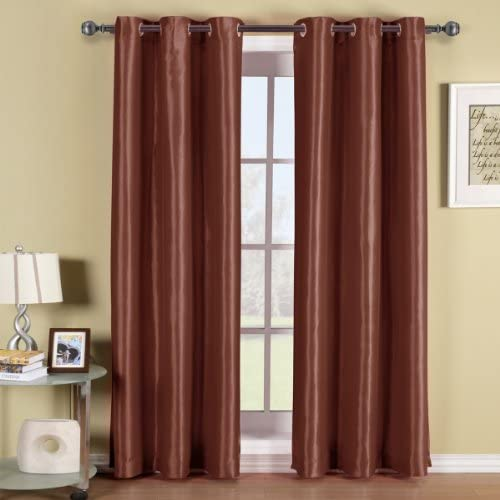 Exquisite Draperies Pair of Two Rust Top Grommet Blackout Curtain Panels, Triple-Pass Foam Back Layer, Elegant and Contemporary Soho 63 Inches Blackout Panels