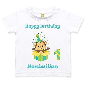 Geburtstagstshirt Kurzarm Junge 1 Jahr Weiß Affe Geschenk Geburtstag T Shirt Größe0 Bis 6 Monate