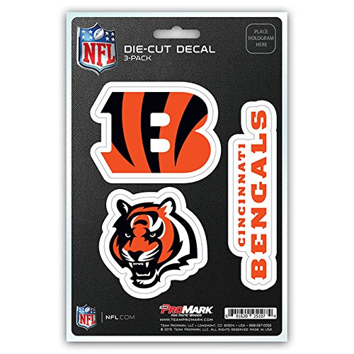 NFL Cincinnati Bengals Team Decal - Pack of 3, Orange, Standard